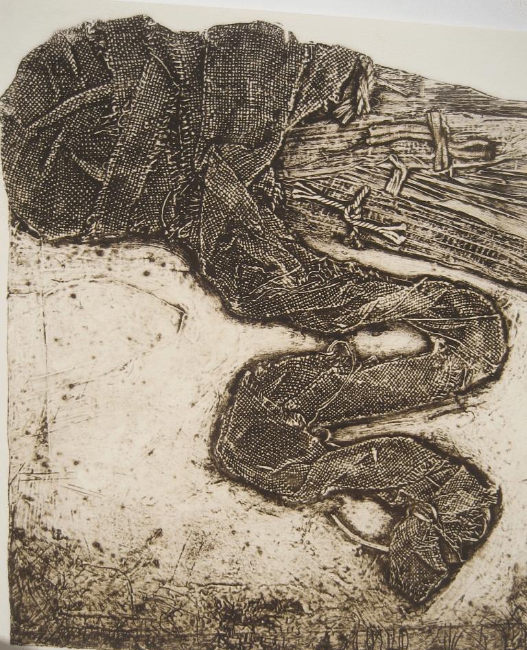 """גווילים 2, 1984, הדפס קולוגרף על נייר ארש, 78 על 56 ס""""מ [הוצג מוזיאון תל אביב לאמנות]"""