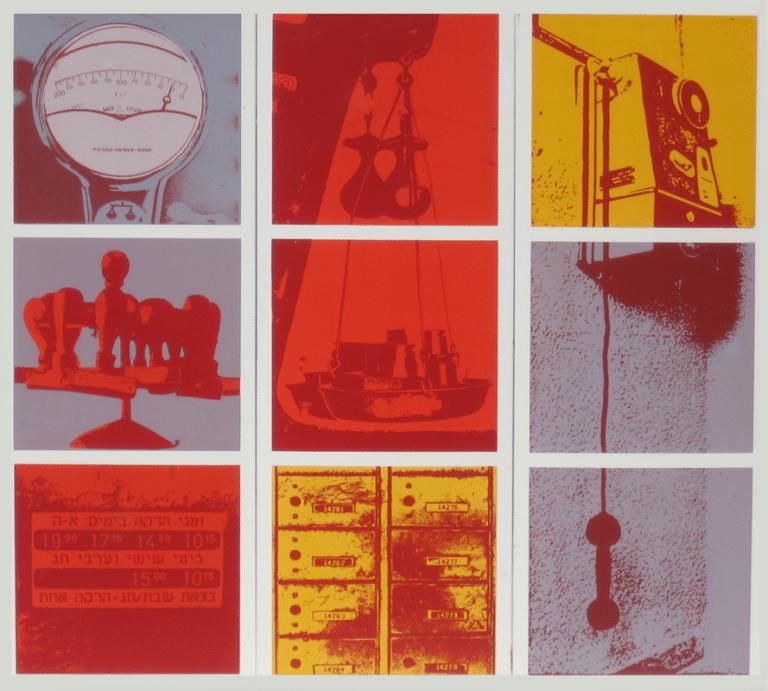 """עולם התקשורת, 1974, פרט, הדפס רשת צילומי 27 יחידות מחוברות  בגודל כולל של 100 על 245 ס""""מ [הוצג גרפוטק, ברלין]"""