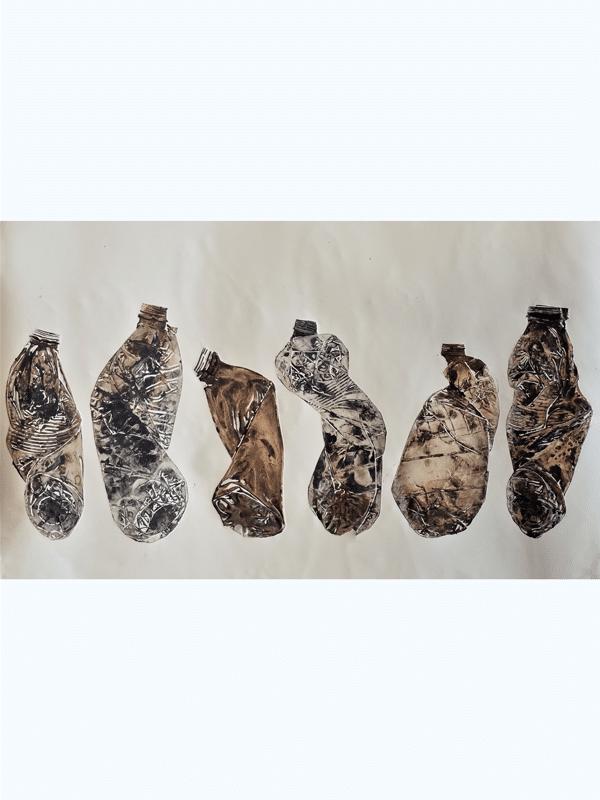 """בקבוקים, 2018, הדפס קולוגרף, 106 על 36 ס""""מ [סדנות ההדפס, ירושלים]"""