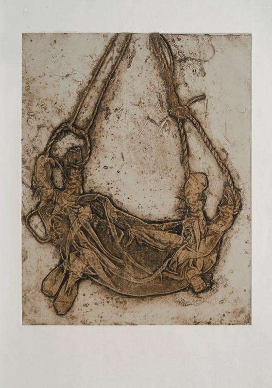 נאד עיזים, 1981, הדפס קולוגרף על נייר ארש, 78 על 53 ס''מ [הוצג ספריית אריאלה, ת]