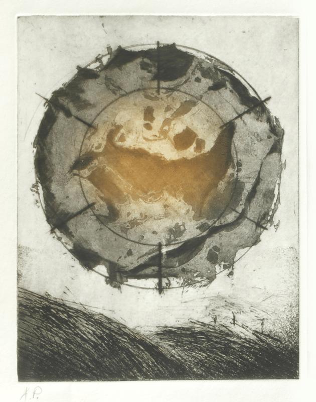 """שמש צורבת, 1974, פרט, הדפס תצריב, 38 על 56 ס""""מ [סדנת ההדפס, תל אביב]"""