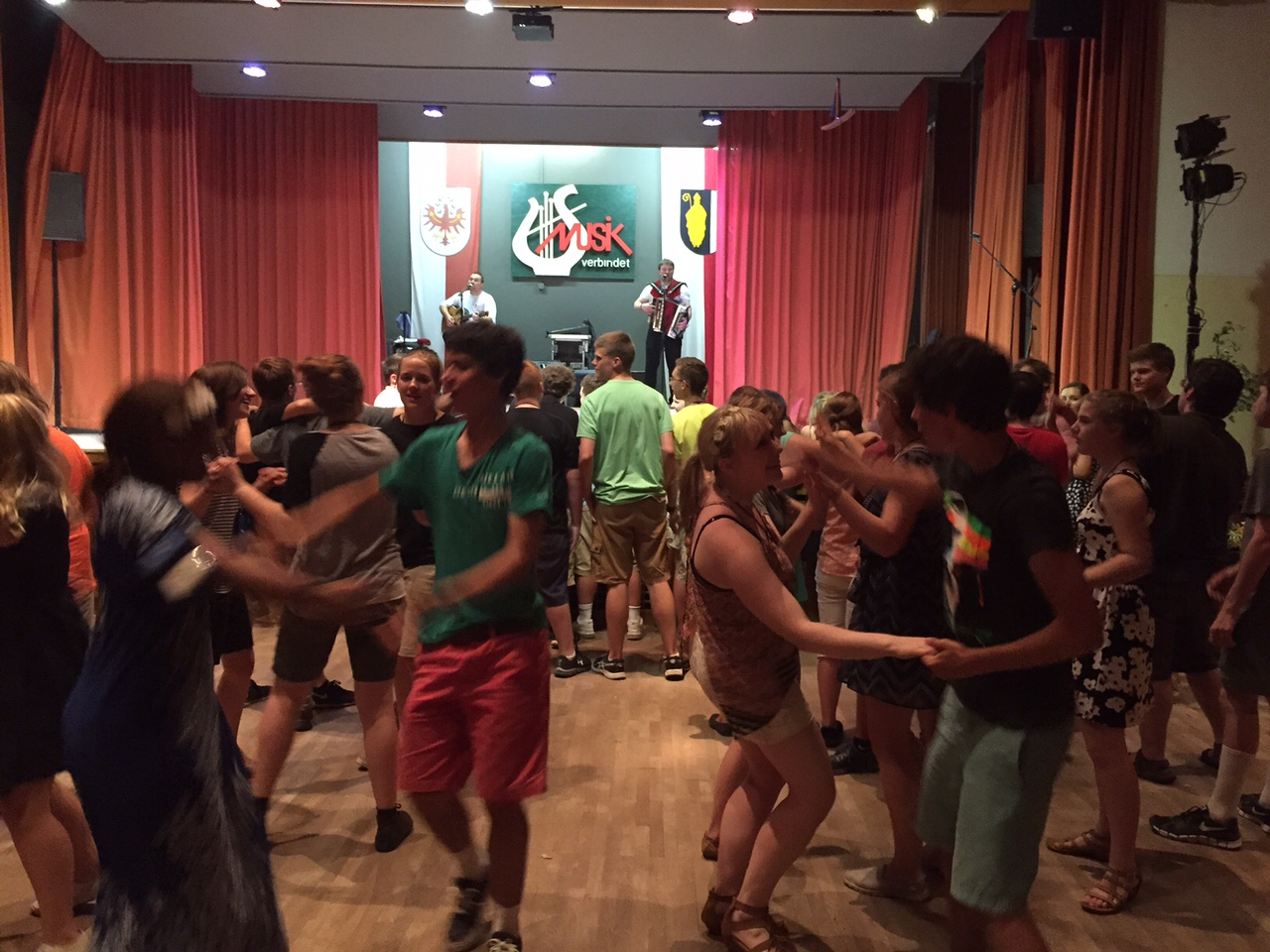 Dancing it up at a Tyrolean folk festival.