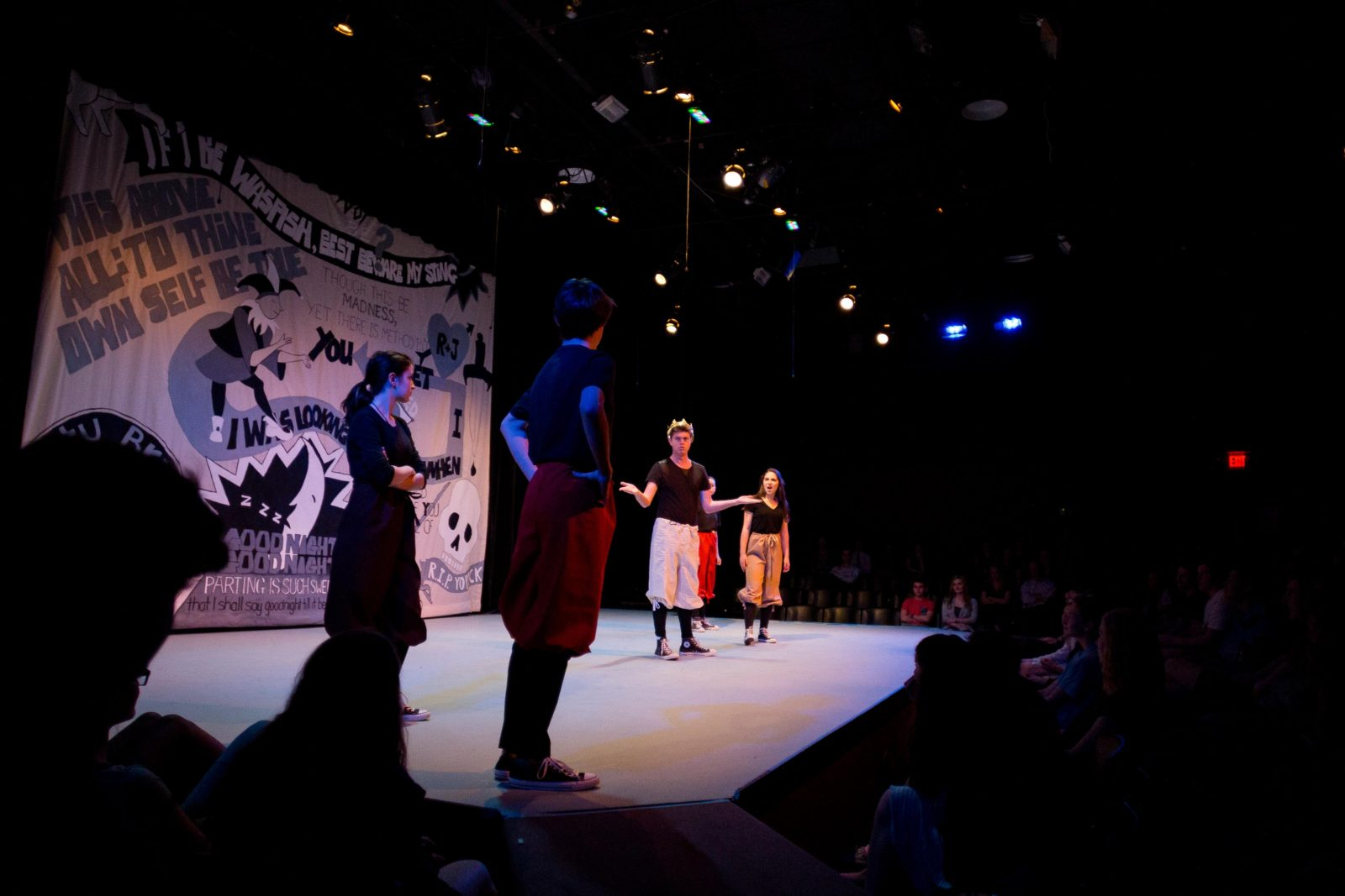 """The Shakespeare Class rehearsed """"The Complete Works of William Shakespeare, Abridged,"""" which the five-member cast performed later in the week to standing ovations. The class had been working on the production since September."""