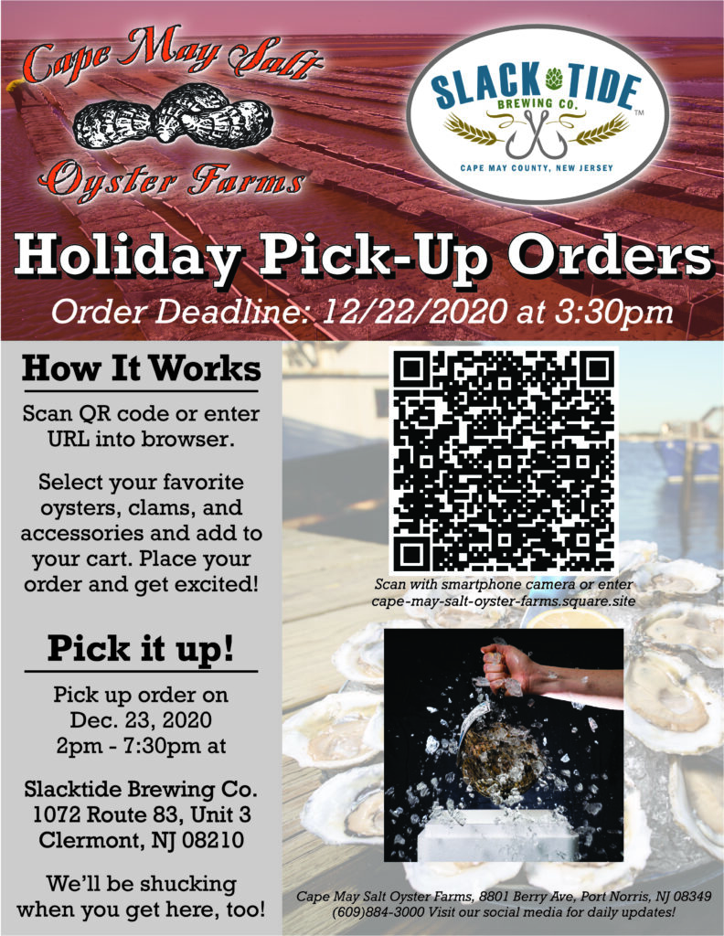 Cape May Salt Oyster Farms 2020 holiday oyster pick-up at Slacktide Brewery in NJ
