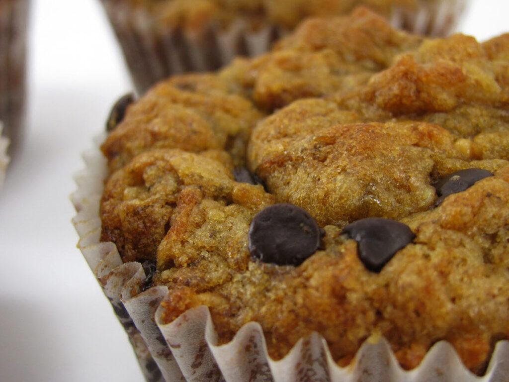 Banana Chocolate Peanut Butter Vegan Muffins