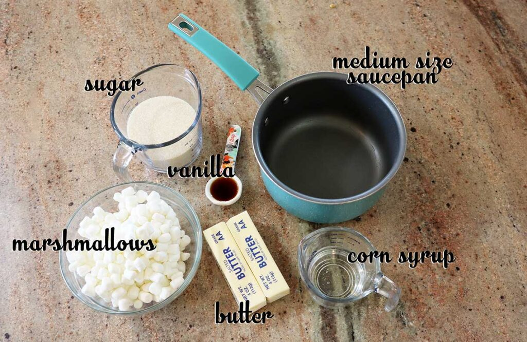 Ingredients for Popcorn balls with Marshmallows