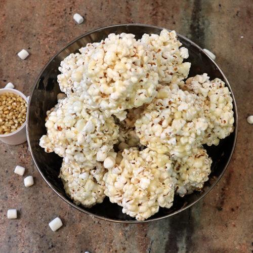 cover photo marshmallow popcorn treats