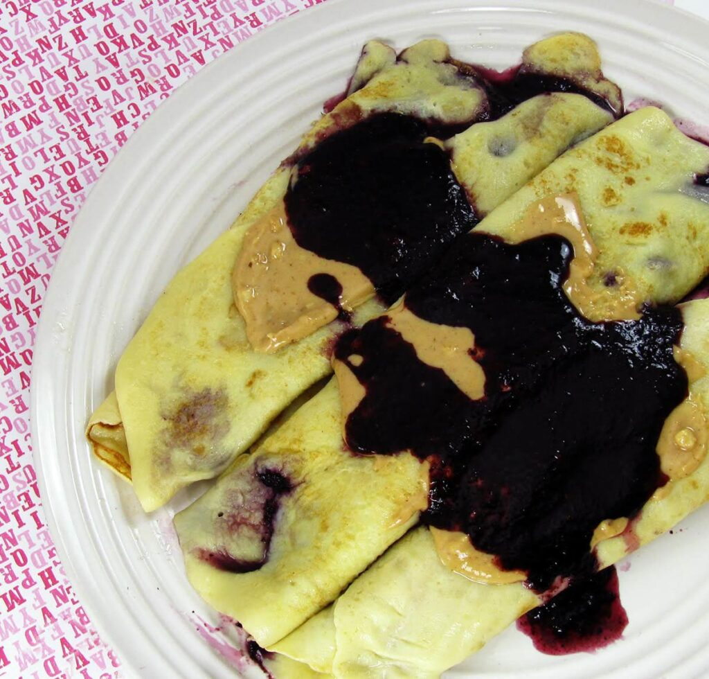 Peanut Butter and Blueberry Jam Crepes