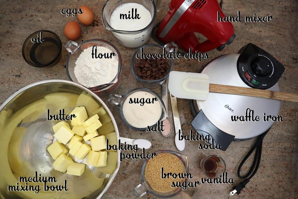 Ingredients for Cookie Dough waffles
