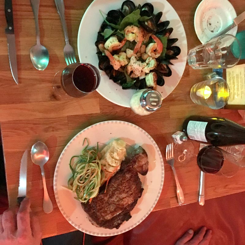 BIN 141 nyc restaurant east village steak lobster shrimp mussels dinner