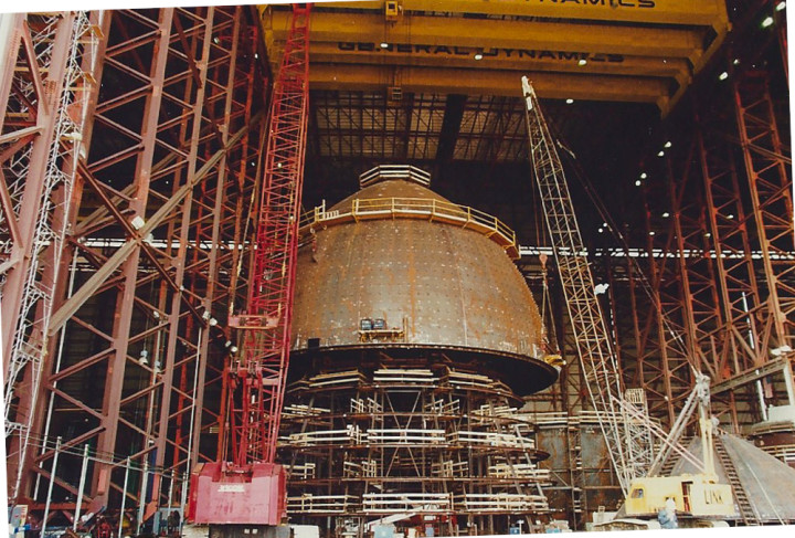Deer Island Digester Tank Construction Lifting Top Unit Out of Assembly Fixture