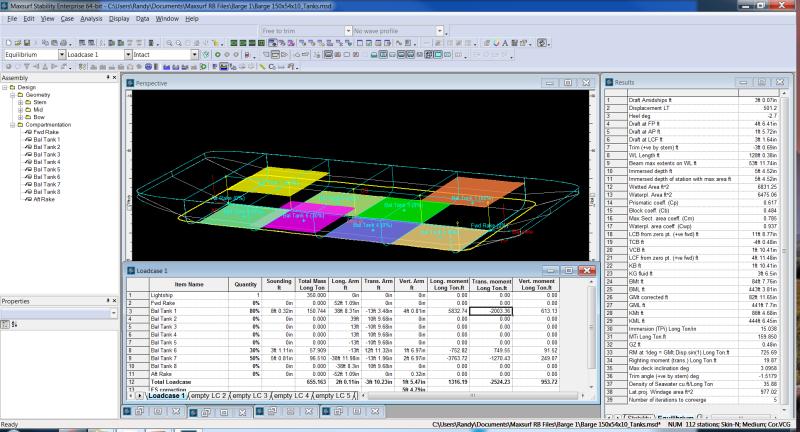 Maxsurf Barge Model Equilibrium Analysis Tank Levels