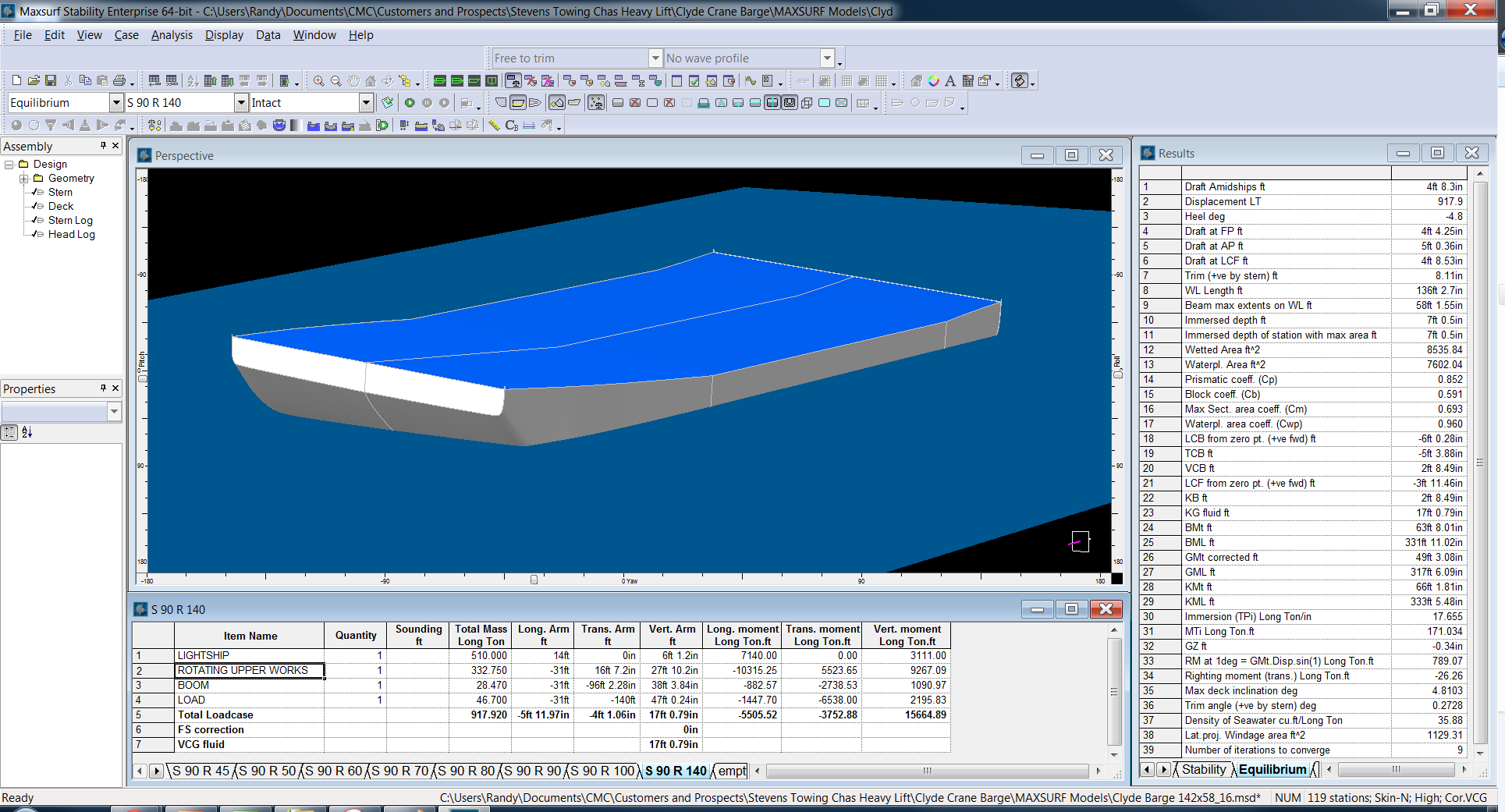Maxsurf Equilibrium Stability Analysis of Crane Barge