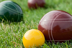 Bocce balls resting in the green grass