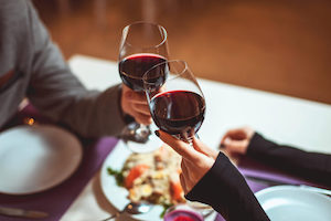 Couple enjoying a glass of wine together