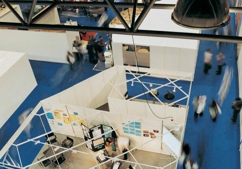 Overhead view of booths at a trade show