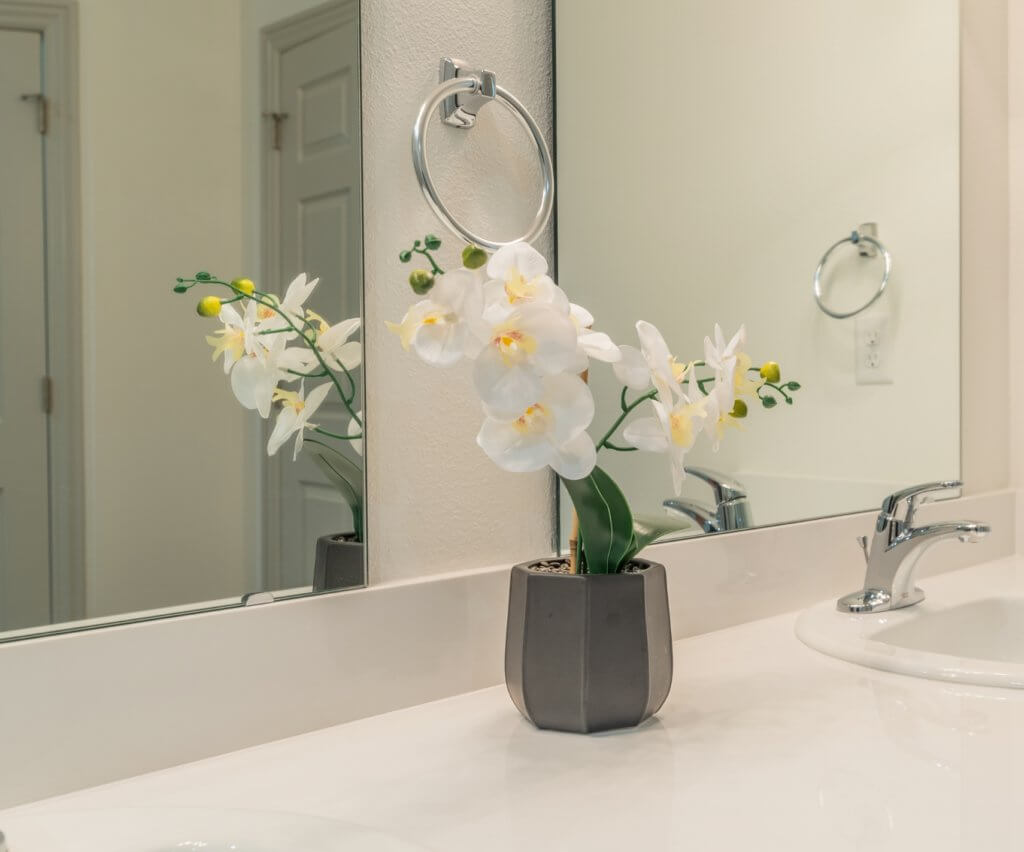 vase of flowers on a bathroom counter