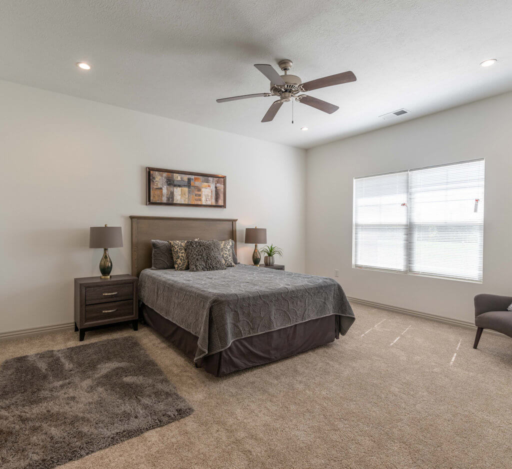 a spacious bedroom