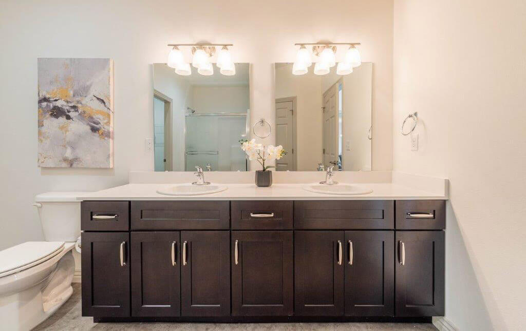 A bathroom mirror