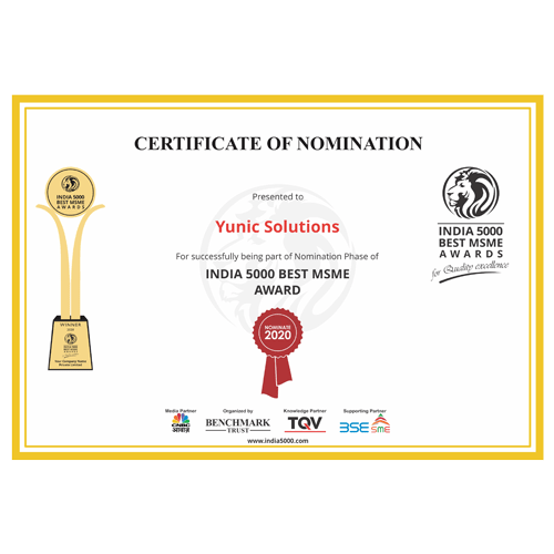 Yunic Solutions nomination Best 5000 MSME in India