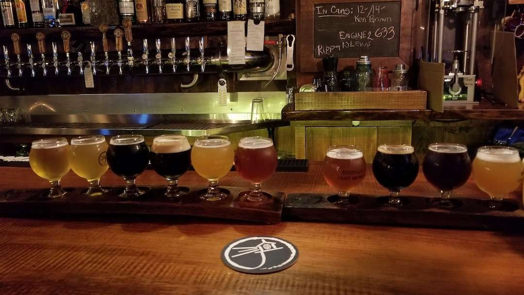 Beer flight at Boothbay Craft Brewery