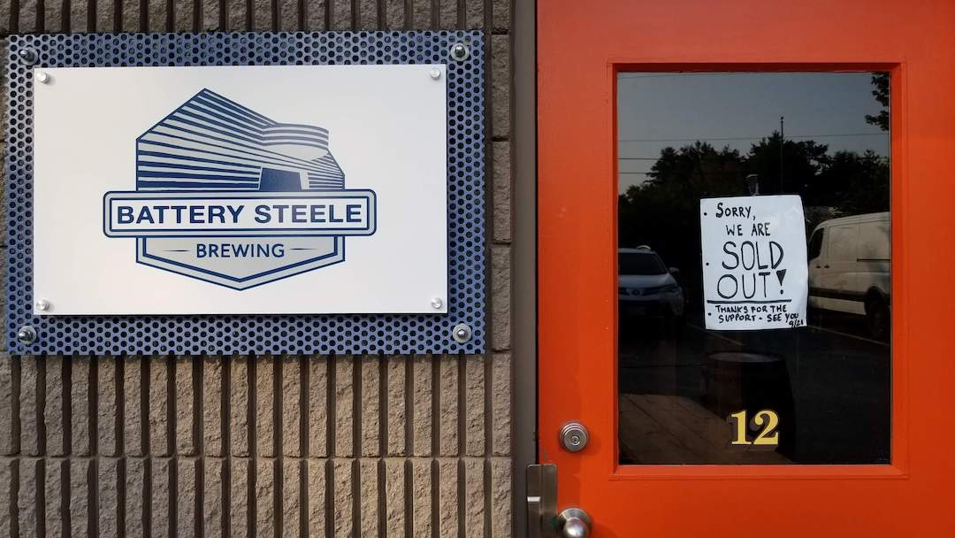 Battery Steele Brewery Closed Sign