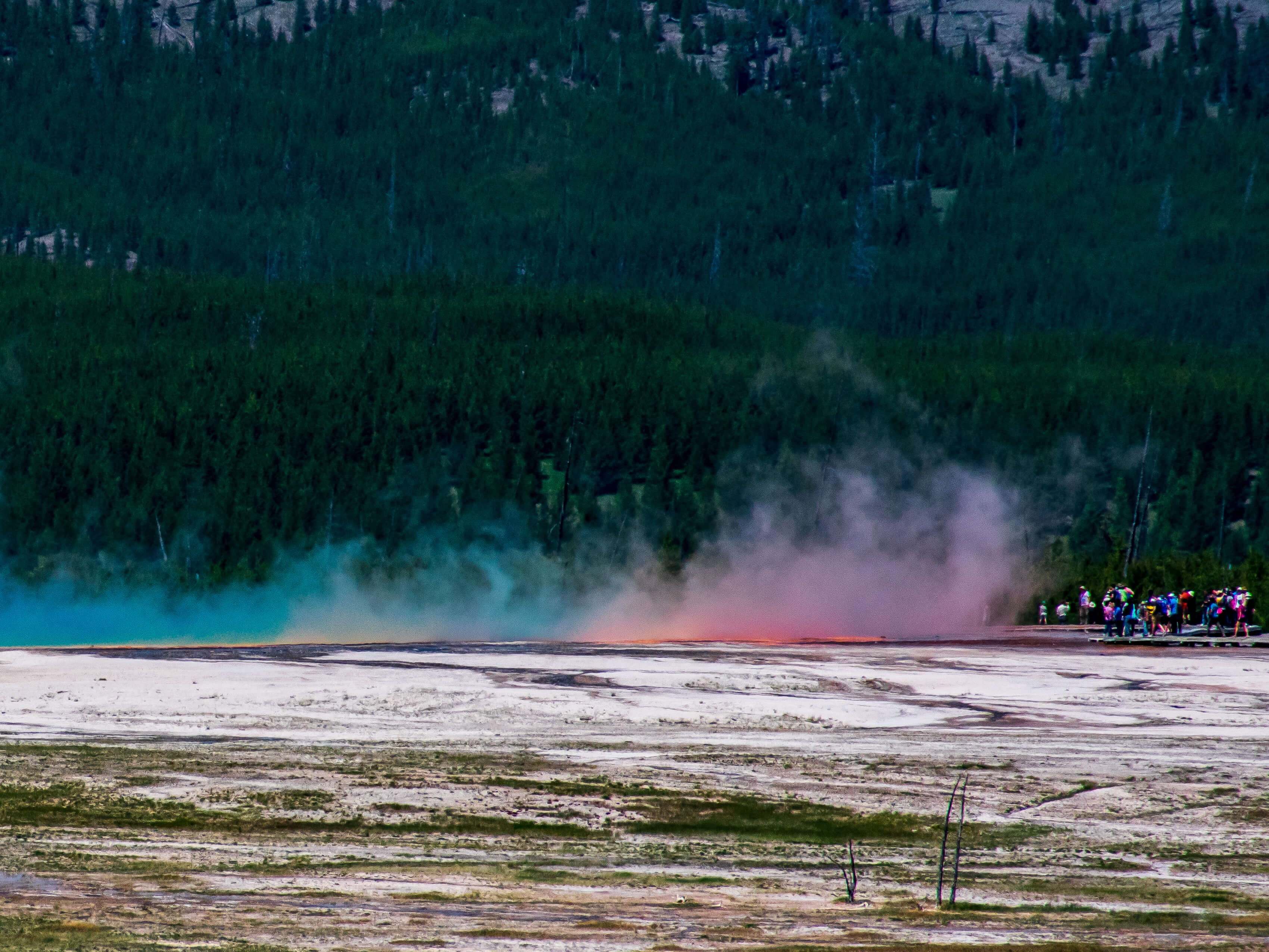 Grand Prismatic Spring with steam Yellowstone