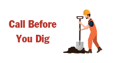 "graphic that says, ""Call Before You Dig"" and has a construction worker with a shovel. It is used on the site to as a click through button in the footer of the website to take you to the instructions to call Tri-County Electric before you start a new construction or rennovation project of any kind."