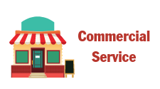 This is the Commercial Service icon and includes a drawing of a small town storefront. It is used as the hotlink button to click through to commercial service information.