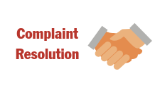 This is the icon for complaint resolution that includes a drawing of a handshake. It is the hotlink buttom to navigate to the complaint resolution page.