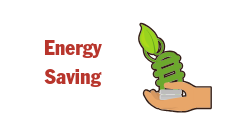 Image of Energy Saving with a hand holding an energy efficient light bulb. Button to click for Energy Saving Information.