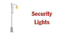 image of icon for security lights with a drawing of a street light. Hotlink button to click through to security lights information
