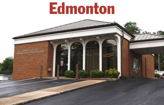 Photo of the front of the Edmonton, KY Tri-County Electric office.