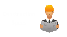 This is a graphic of used to depict construction specs. It depicts a man wearing a hardhat. It is used on the website as a hotlink to the Construction Specs page.