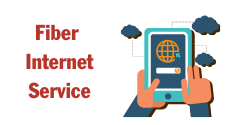 This is a graphic of Fiber Internet Service. It depicts two hands holding a cell phone and clouds. It is used as a hotlink to the Fiber Internet Service page.