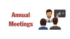 This is a graphic used for the Annual Meetings of Tri-County Electric. The image depicts a man making a presentation of a graphic and two people listening.