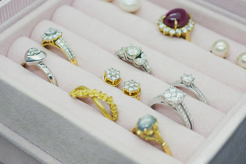 Jewelry rings in a box