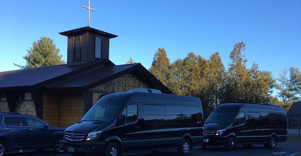 vermont wedding limo van & church