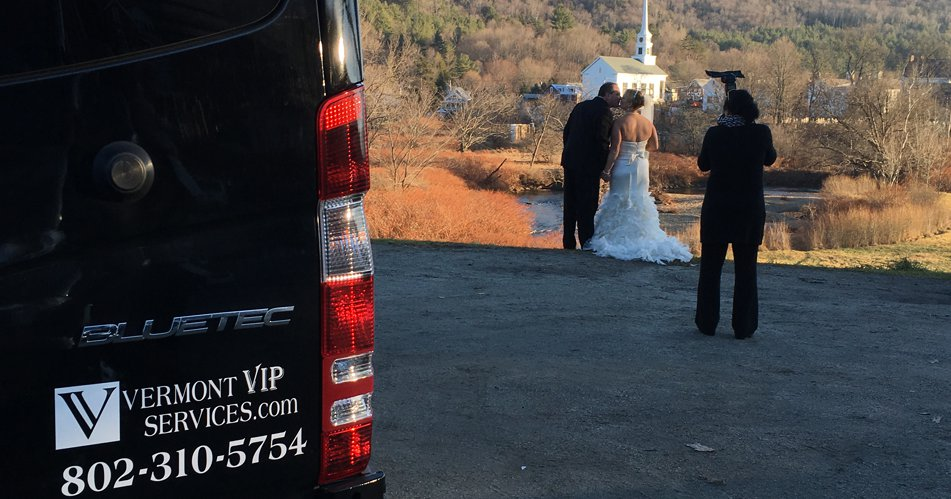 vt country wedding limo van