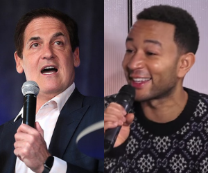 Mark Cuban And John Legend Facing Each Other Holding Microphones
