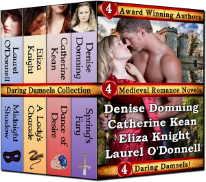 Daring Damsels medieval romance novel box collection, featuring medieval romance novels by Denise Domning, Catherine Kean, Eliza Knight and Laurel O'Donnell.