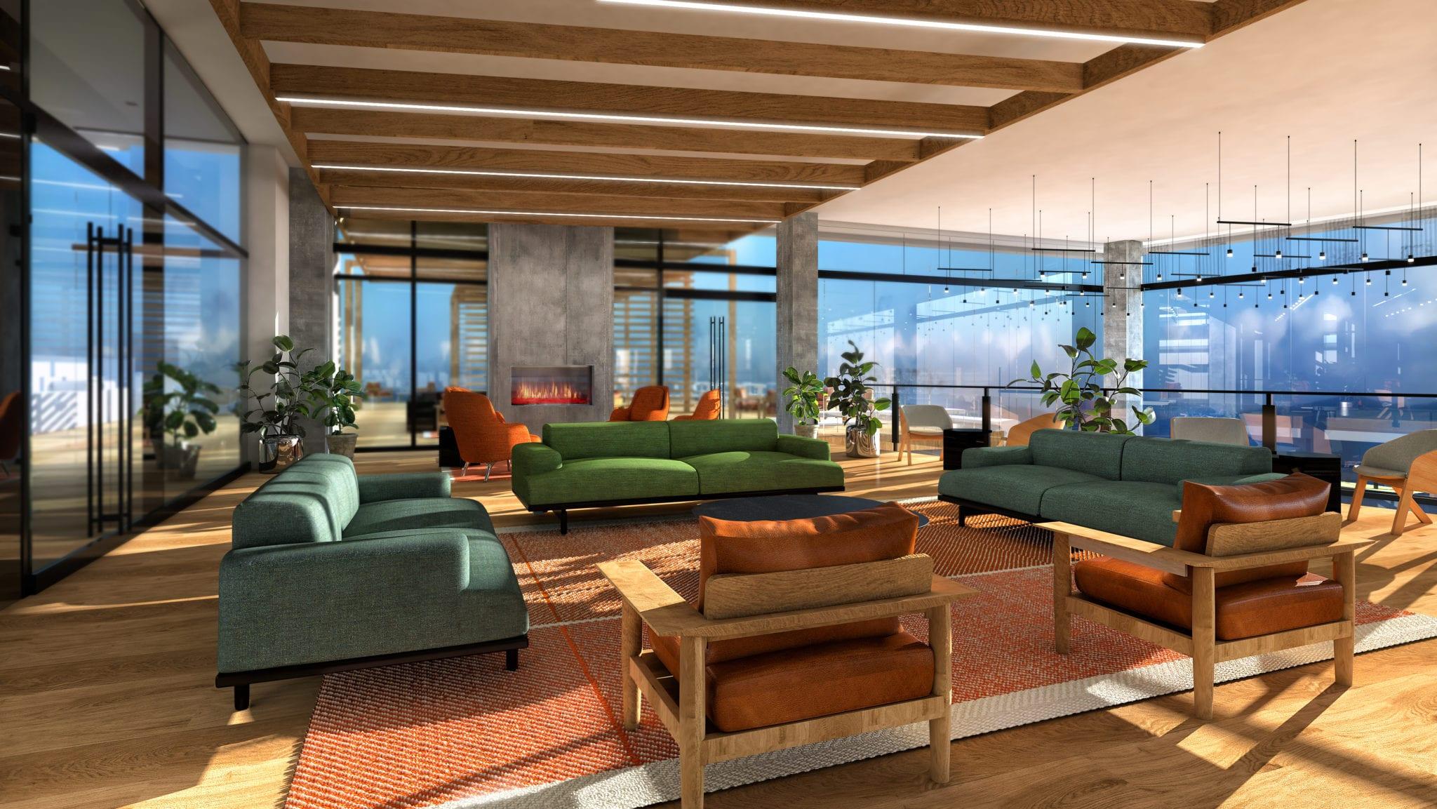 Makers Rise East - Living Room Rendering