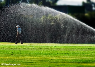 man and sprinkler