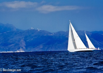 white sailboat blue mountain