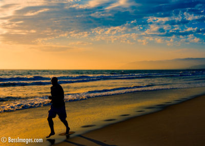 Beach jogger at sunset-1
