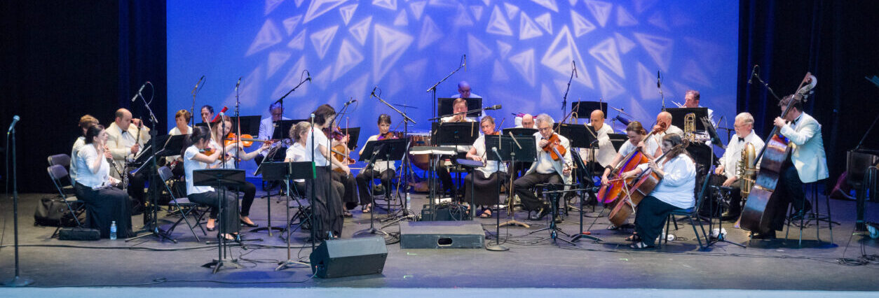 orchestra with blue background