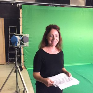 Laura Sittig prepping for the green screen - Filming Neuron video abstract, Sept 2016