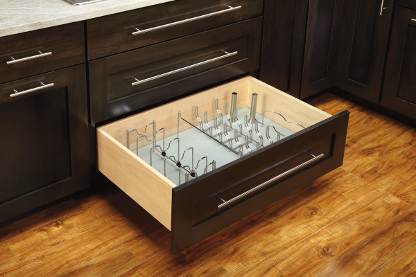 Chrome Pan Organizer for Drawer Peg Boards
