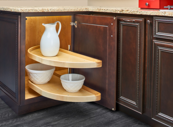 Wood Half Moon Lazy Susan 2-Tier