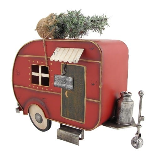 Metal Christmas Camper Miniature
